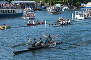 """Henley on Thames, United Kingdom, 8th July 2018, Sunday, Final,  """"Fawley Challenge Cup"""" winners Windsor Boys' School"""" """"Fifth day"""", of the annual,  """"Henley Royal Regatta"""", Henley Reach, River Thames, Thames Valley, England, © Peter SPURRIER,"""