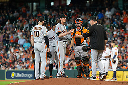 May 23, 2018 - Houston, TX, U.S. - HOUSTON, TX - MAY 23: San Francisco Giants starting pitcher Jeff Samardzija (29) gives the ball to San Francisco Giants manager Bruce Bochy (15) to leave the game in the fifth inning during MLB baseball game between the Houston Astros and the San Francisco Giants on May 23, 2018 at Minute Maid Park in Houston, Texas. (Photo by Juan DeLeon/Icon Sportswire) (Credit Image: © Juan Deleon/Icon SMI via ZUMA Press)