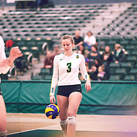 5th year outside hitter, Leah Sywank (3) of the Regina Cougars during the Women's Volleyball home game on Fri Jan 18 at Centre for Kinesiology, Health & Sport. Credit: Arthur Ward/Arthur Images