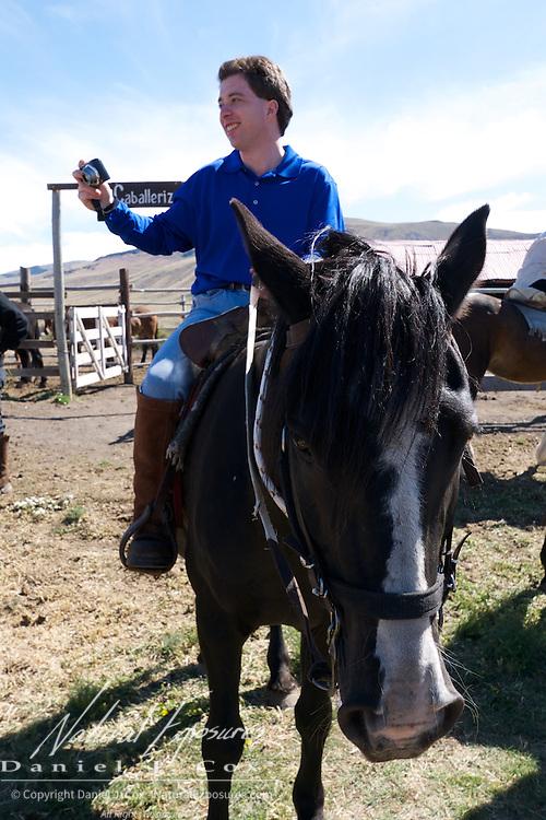 Brian horseback riding at the ranch in El Calafate, Patagonia, Argentina.