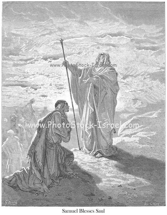 Samuel Blessing Saul 1 Samuel 9:21 From the book 'Bible Gallery' Illustrated by Gustave Dore with Memoir of Dore and Descriptive Letter-press by Talbot W. Chambers D.D. Published by Cassell & Company Limited in London and simultaneously by Mame in Tours, France in 1866