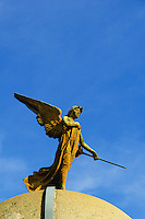 statue of an angel on a mausoleum, Recoleta Cemetery, Buenos Aires, Argentina