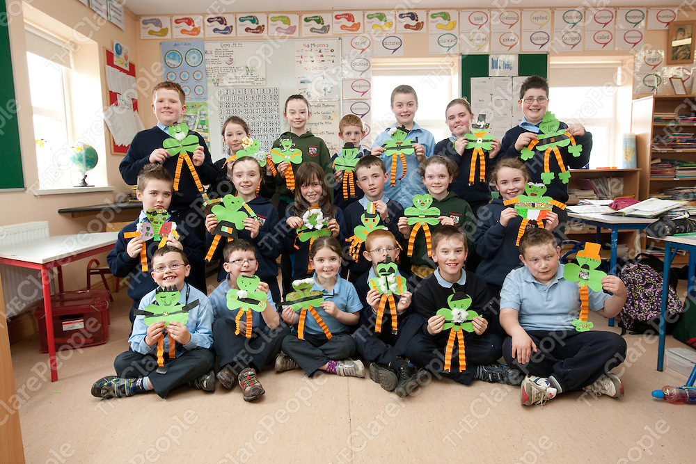 Students showing their  Shamrock for St Patricks day  in Mullagh National School Mullagh Co.Clare.<br /> Pictured Credit Brian Gavin Press 22