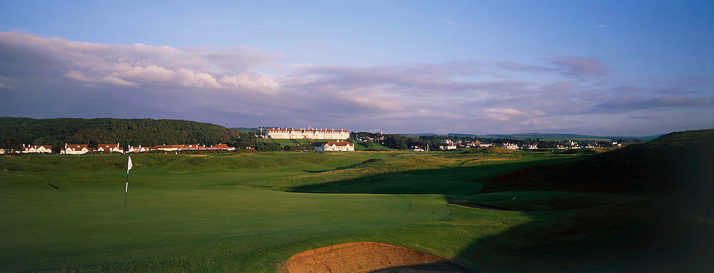 View from back of 6th par 3 showing famous Turnberry Hotel in the background at Turnberry - Ailsa Course   ,Turnberry,Ayrshire,Scotland.