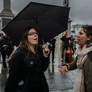 London, England, UK. 21st September 2017.Protesters blockade the roundabout of Trafalgar square, protest Stop Killing Londoners: Cut Air Pollution Protest No. 5'.