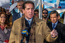 December 20, 2016 - New York, NY, United States - On December 20 in Hempstead, NY, as the first offshore wind project in New York gets approval, a huge crowd of elected officials, environmental groups, activists and concerned New Yorkers rally to support Long Island Power Authority (LIPA) and ask for offshore wind commitment in New York - New York Senator Todd Kaminsky said: 'ÄúNew York must remain a responsible, conscientious player in tackling climate change. I will continue to push for clean-energy policies that provide safe, reliable, and renewable power. (Credit Image: © Erik Mcgregor/Pacific Press via ZUMA Wire)