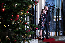 © Licensed to London News Pictures. 03/12/2019. London, UK. Secretary General of North Atlantic Treaty Organization (NATO) Jens Stoltenberg and wife Ingrid Schulerud arrive at 10 Downing Street for a reception hosted by UK Prime Minister Boris Johnson. International leaders are visiting the UK for to mark the 70th anniversary of the North Atlantic Treaty Organisation (NATO) Photo credit : Tom Nicholson/LNP