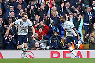 Danny Rose of Tottenham Hotspur (r) celebrates with Harry Kane of Tottenham Hotspur after scoring his sides 2nd goal to make it 2-1. Barclays Premier league match, Tottenham Hotspur v Swansea city at White Hart Lane in London on Sunday 28th February 2016.<br /> pic by John Patrick Fletcher, Andrew Orchard sports photography.