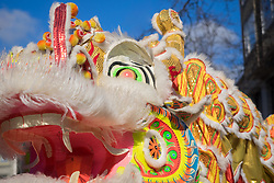 """United States, Washington, Seattle. Chinese New Year celebration in Seattle's """"International District"""", traditional home of the city's Asian community. Dragon mask."""