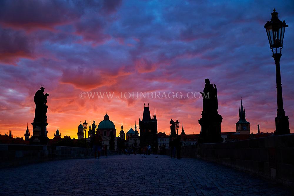 Charles Bridge, Prague, Czech Republic, sunrise,