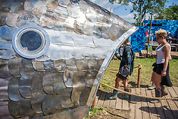 The Greenpeace area - a huge tuna that you can walk through with a life-like coral garden designed to highlight the problems that the Great Barrier Reef is facing. The artificial reef is made up of examples of discarded plastics that are forming floating islands in the oceans that can be seen from space. The 2015 Glastonbury Festival, Worthy Farm, Glastonbury.
