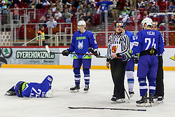 Robert Sabolic of Slovenia injured during Ice Hockey match between National Teams of Kazakhstan and Slovenia in Round #4 of 2018 IIHF Ice Hockey World Championship Division I Group A, on April 27, 2018 in Arena Laszla Pappa, Budapest, Hungary. Photo by David Balogh / Sportida