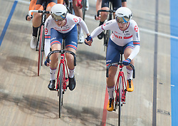 March 2, 2019 - Pruszkow, Poland - Elinor Barker and  Neah Evans of Great Britain or Team GB on their way to winning the silver medal in the Women's Team Pursuit Final on day two of the UCI Track Cycling World Championships held in the BGZ BNP Paribas Velodrome Arena on February 28, 2019 in Pruszkow, Poland. (Credit Image: © Foto Olimpik/NurPhoto via ZUMA Press)
