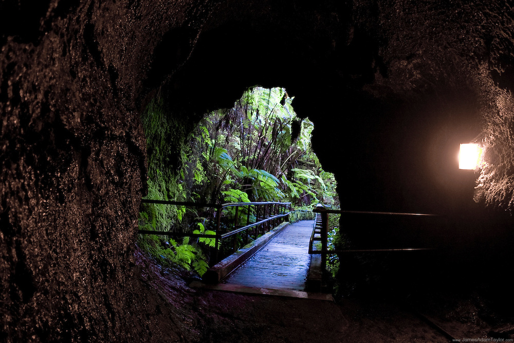 A view from inside Thurston Lava tube, Volcanoes National Park, Hawaii.