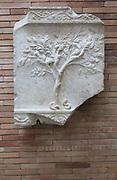 Marble tree with birds and serpent, Museo Nacional de Arte Romano, national museum of Roman art, Merida, Extremadura, Spain