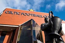 Statue of Jock Stein outside Celtic Park home of Celtic Football Club in Parkhead , Glasgow, Scotland, United Kingdom