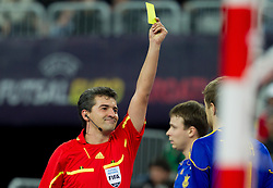 Referee Bogdan Sorescu of Romania during futsal match between Slovenia and Ukraine at Group stage of European Futsal Championship Croatia 2012, on February 2, 2012 in Arena Zagreb, Zagreb, Croatia.  Ukraine defeated Slovenia 6-3. (Photo By Vid Ponikvar / Sportida.com)