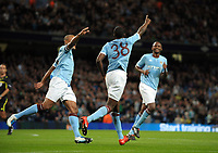Dedryck Boyata celebrates scoring Manchester City's second<br /> Manchester City 2010/11<br /> Manchester City V FC Timisoara 26/08/10<br /> UEFA Europa League Play-Off Round Second Leg<br /> Photo Robin Parker Fotosports International