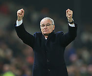 Claudio Ranieri manager of Leicester City celebrates gaining a point during the English Premier League match at the Bet 365 Stadium, Stoke on Trent. Picture date: December 17th, 2016. Pic Simon Bellis/Sportimage