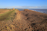 Shingle bay bar and lagoon formed by longshore drift, view north from Bawdsey to Shingle Street, Suffolk, England, UK