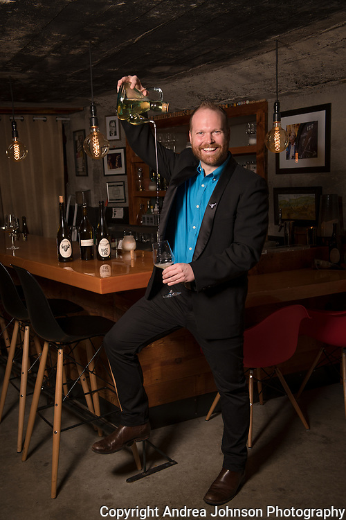 John House of Ovum winery, at his wine bar Les Caves, Portland, Oregon