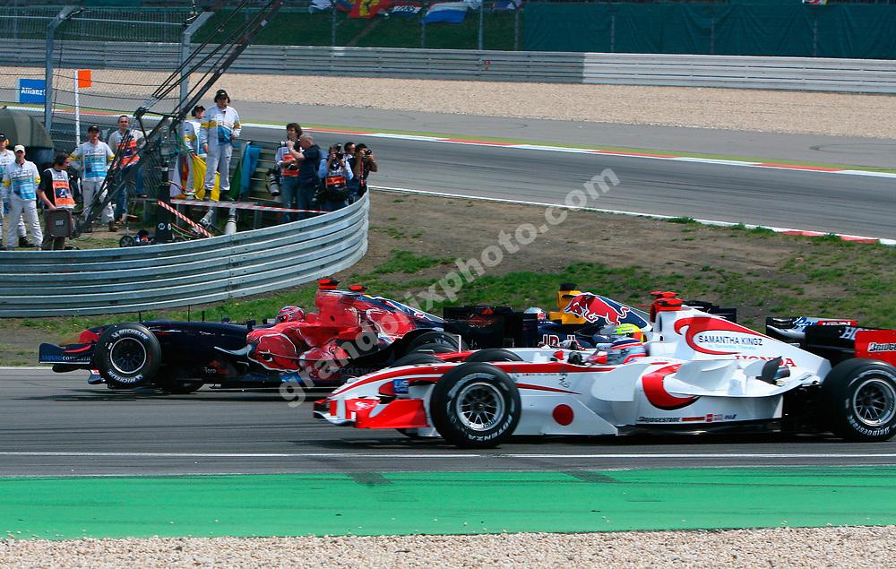 Vitantonio Liuzzi crashes in the first corner of the 2006 European Grand Prix at the Nurbrugring. Photo: Grand Prix Photo