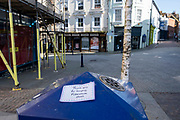 'Thank you for keeping Folkestone clean' A thank you note stuck onto a bin thanking the street cleaners for their work during the COVID-19 pandemic on an empty street on the 10th of April 2020 in Folkestone, United Kingdom. A grateful citizen has placed thank you notes around Folkestone Town which thanks the key workers still providing essential services during the Pandemic affecting the entire country.