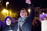 A protestor shouts slogans during a demonstration against corruption in Madrid