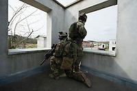 """03 APR 2012, LEHNIN/GERMANY:<br /> Scharfschuetzen """"Sniper"""" sichern das Vorruecken Ihrer Kammeraden, Kampfschwimmer der Bundeswehr trainieren """"an Land"""" infanteristische Kampf, hier Haeuserkampf- und Geiselbefreiungsszenarien auf einem Truppenuebungsplatz<br /> IMAGE: 20120403-01-040<br /> KEYWORDS: Marine, Bundesmarine, Soldat, Soldaten, Armee, Streitkraefte, Spezialkraefte, Spezialkräfte, Kommandoeinsatz, Übung, Uebung, Training, Spezialisierten Einsatzkraeften Marine, Waffentaucher"""