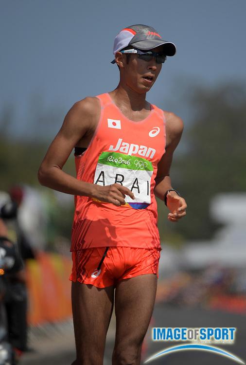 Aug 19, 2016; Rio de Janeiro, Brazil; Hiroki Arai (JPN) places third in the 50km race walk in 3:41:24 during the Rio 2016 Summer Olympic Games at Pontal.