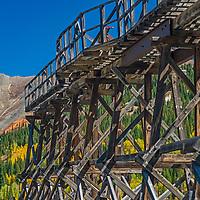 An old tram teeters above the Idarado Mine near Silverton, Colorado.
