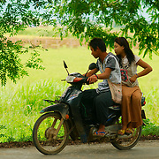 Young couple near the rice fields of Nyaungshwe