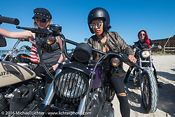 Samantha Campana and the Iron Lillies at the High Tides restaurant in Flagler Beach while on the Hot Leathers ride during the Daytona Bike Week 75th Anniversary event. FL, USA. Tuesday March 8, 2016.  Photography ©2016 Michael Lichter.