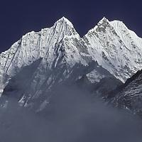 NEPAL, HIMALAYA. Mt. Thamserku (6,608m) Khumbu Region.