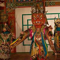 Tumen Ekh, a Mongolian national folklore ensemble, performs a Tibetan Buddhist Tsam dance in Ulaanbaatar.