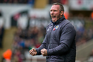 caretaker Manager of Leicester City, Michael Appleton reacts and celebrates after his team score their 2nd goal. Premier league match, Swansea city v Leicester city at the Liberty Stadium in Swansea, South Wales on Saturday 21st October 2017.<br /> pic by Aled Llywelyn, Andrew Orchard sports photography.