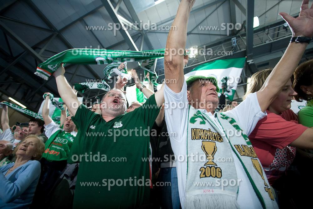 Fans of Gyori at EHF Champions league handball match in Group II between RK Krim Mercator and Gyori Audi Eto KC, on February 7, 2009, in Kodeljevo, Ljubljana, Slovenia. Gyori won 35:31. (Photo by Vid Ponikvar / Sportida)
