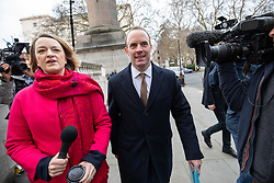 © Licensed to London News Pictures. 15/01/2019. London, UK. Former Secretary of State for Exiting the European Dominic Raab (centre) arrives to speak at 'A Better Deal' event, outlining the opportunities if Parliament rejects the Government's proposed deal. Today, MPs are due to vote on British Prime Minister Theresa May's EU withdrawal deal, after the previous vote in December was postponed. Photo credit : Tom Nicholson/LNP