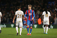 Kyle Naughton of Swansea City shakes hands with Patrick Bamford of Crystal Palace after the final whistle. Barclays Premier League match, Crystal Palace v Swansea city at Selhurst Park in London on Monday 28th December 2015.<br /> pic by John Patrick Fletcher, Andrew Orchard sports photography.
