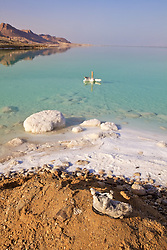 Dead Sea With Boot Covered In Salt & Marker In Water