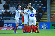 GOAL Andre Green is congratulated after scoring during the The FA Cup 2nd round match between Rochdale and Portsmouth at Spotland, Rochdale, England on 2 December 2018.