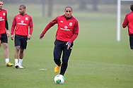 Wales capt Ashley Williams in action.Wales football team training and player media session in Cardiff on Tuesday 19th March 2013.  The team are together ahead of their next two World cup qualifying matches against Scotland and Croatia. pic by Andrew Orchard, Andrew Orchard sports photography,