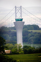The Control Tower at Edinburgh Airport with the Forth Road Bridge in the background..©2009 Michael Schofield. All Rights Reserved.