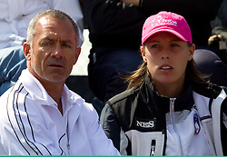 Martin Vilar and Andreja Klepac of Slovenia during the second day of the tennis Fed Cup match between Slovenia and Canada at Bonifika, on April 17, 2011 in Koper, Slovenia.  (Photo by Vid Ponikvar / Sportida)
