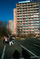 CZECH REPUBLIC BOHEMIA TEPLICE NOV03 - Socialist style housing in the north Bohemian spa town of Teplice....jre/Photo by Jiri Rezac....© Jiri Rezac 2003....Contact: +44 (0) 7050 110 417..Mobile:   +44 (0) 7801 337 683..Office:    +44 (0) 20 8968 9635....Email:   jiri@jirirezac.com..Web:     www.jirirezac.com