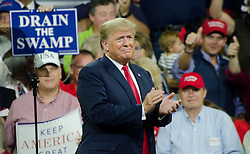 Oct 1, 2018 - Johnson City, Tennessee, U.S. - President DONALD TRUMP is welcomed by the crowd at President Donald J. Trump's Make America Great Again Rally in the Freedom Hall , Johnson City, Tennessee on Monday evening. (Credit Image: © Michael McCollum/Michael McCollum)