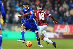 12th February 2017 - Premier League - Burnley v Chelsea - Diego Costa of Chelsea battles with Ashley Westwood of Burnley - Photo: Simon Stacpoole / Offside.