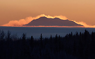 A wind-swept Denali at sunset from Nenana