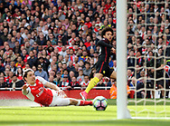 Manchester City's Leroy Sane scoring his sides opening goal during the Premier League match at the Emirates Stadium, London. Picture date: April 2nd, 2017. Pic credit should read: David Klein/Sportimage