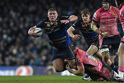 December 16, 2017 - Dublin, Ireland - Tadhg Furlong of Leinster team in action challenged by Matt Kvesic of Exeter Chiefs during the European Rugby Champions Cup rugby match at Aviva Stadium...On Saturday, 16 December 2017, in Dublin, Ireland. (Credit Image: © Artur Widak/NurPhoto via ZUMA Press)